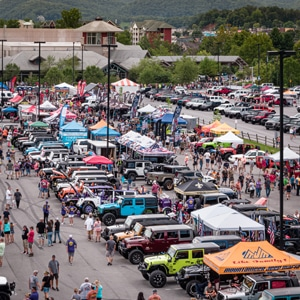 Aerial view of Jeeps on display