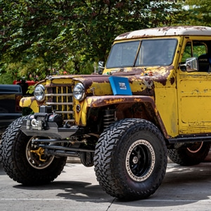 Vintage yellow Jeep