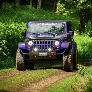 Purple Jeep running through an all terrain course