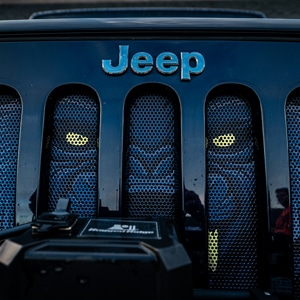 Jeep with a Bear design on grill