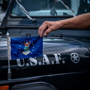 Classic USAF restored Jeep with flag
