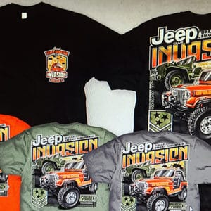 Main Jeep T-Shirt with all color varieties.