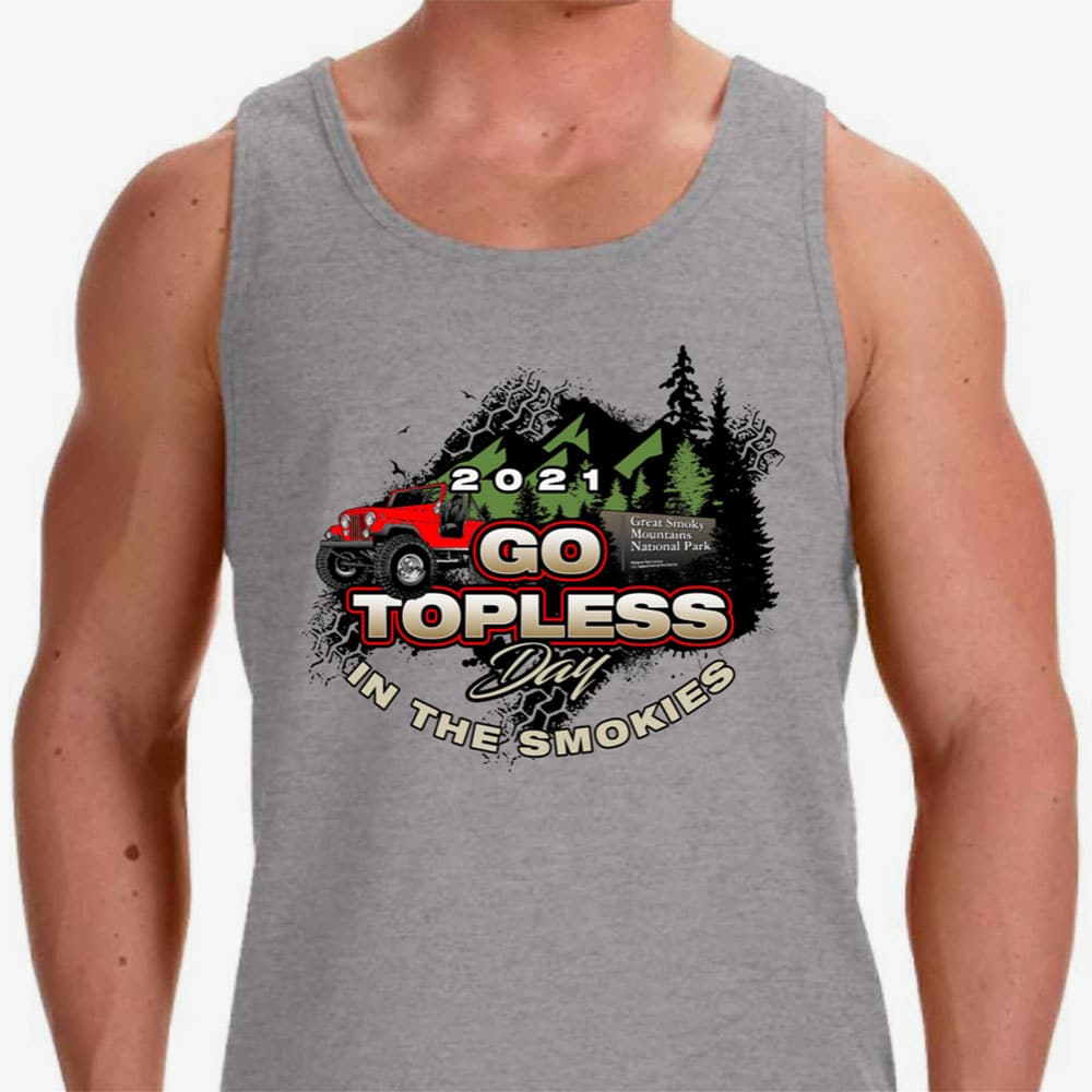 Go Topless Day in the Smokies Grey Tank