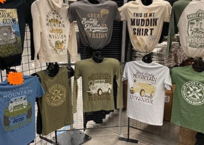 Event t-shirts on display