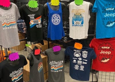 Tees and tank tops that were for sale on displayon display