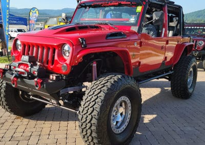Red Jeep on display